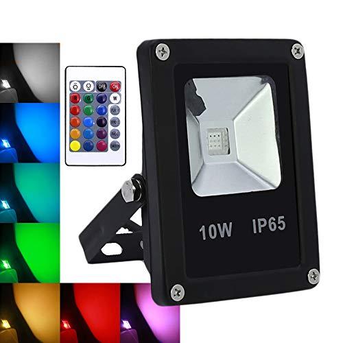 10W LED Strahler RGB Farbwechsel mit Fernbedienung Fluter Außenstrahler IP65 Wasserdicht Scheinwerfer 850lm Super Hell für Garten, Hof, Sportplatz, Garage (10 W Led Rgb)