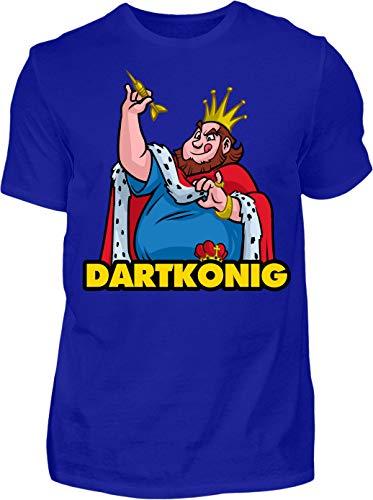 Kreisligahelden T-Shirt Herren Dartkönig - Kurzarm Shirt Baumwolle mit Motiv Aufdruck - Hobby Freizeit Fun Dart Darts 180 königlich (XL, Blau)