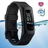 4UMOR Montre Connectée Cardiofréquencemètre Etanche IP68 Bracelet Sport Homme Femme Tracker d'Activité Fitness Smartwatch Padomètre/Distance/Calorie/Mode Natation/Sommeil/Rappel Sédentaire/Appel/SMS