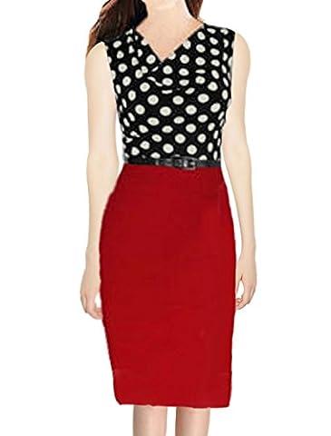 sourcingmap® Damen Kleid Rot Burgunderrot
