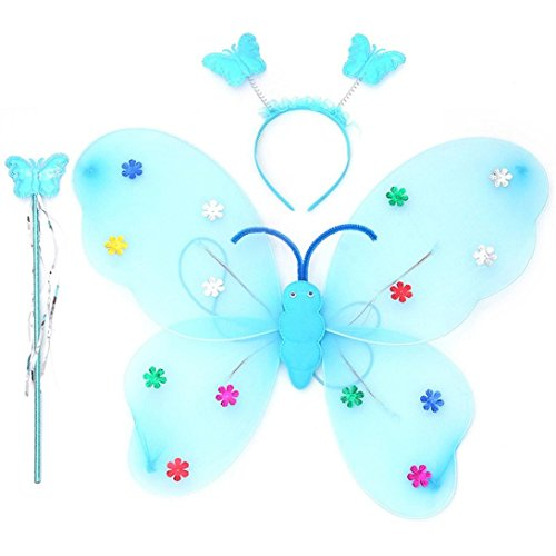 Xshuai 3pcs / Set Mädchen geführtes blinkendes helles weiches Tullegewebe Feenhaftes Schmetterlings-Flügelstab-Stirnband-Kostüm-Geschenk-Spielzeug (Blau / Rosenrot / Lila / Rosa / Gelb) (Schmetterlingsflügel Weichen Kostüm)