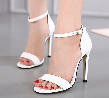 YCMDM L'été féminin Les nouvelles chaussures à talons hauts Sandales à la mode White