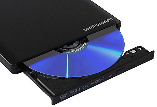 techpulse120 externer USB 3.0 Blu-ray Brenner MDisc BDXL 3D Burner Alu Schwarz Superdrive Blueray Laufwerk BD DVD CD Ultraslim für Computer Notebook Ultrabook Windows MacOS Apple iMac MacBook Pro Air