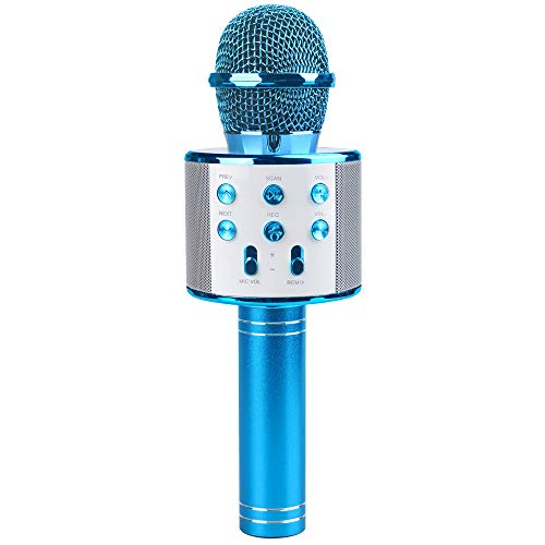 Tmox Mikrofon Karaok, Mädchen Wireless Mikrofon Spielzeug 4-9 Jahre altes Mädchen Kind Mikrofon Mädchen Familie Party Geschenk 6-7 8 jähriges Mädchen Blaues Mikrofon