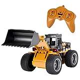 LSQR Fernbedienung Spielzeug Bulldozer Gabelstapler, 1:18 2,4 GHz 6CH RC Legierung LKW Baufahrzeug Spielzeug RC Bulldozer Engineering Car RC Spielzeug Geschenke für Kinder Jungen,Yellow