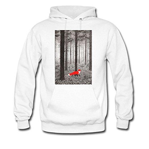 HGLee Printed Personalized Custom Lovely Red Fox Women's Hoodie Hooded Sweatshirt White