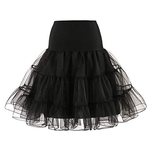Andouy Damen Tutu Rock Tüll Organza A-Linie Petticoat Balletttanz Layred Kostüm Dress-up Größe 34-52(48-52,Schwarz)