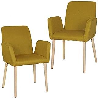 FineBuy Design Esszimmerstuhl 2er Set FB6736 mit Armlehnen Polsterstühle Curry   Skandinavische Esszimmerstühle mit Stoffbezug   Gemütlicher Armlehnenstuhl mit Holzbeinen   Esszimmer-Sessel Modern