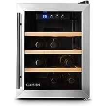 Klarstein Reserva 12 Uno vinoteca (12 botellas, 33 litros, acero inoxidable, iluminación LED, puerta cristal doble aislamiento, 3 estantes madera extraíble, temperatura ajustable)