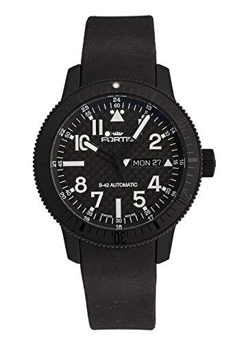 Reloj de Pulsera Fortis B-42 con Esfera de Titanio Negro y Carbono, analógico, automático, 647.28.51 K