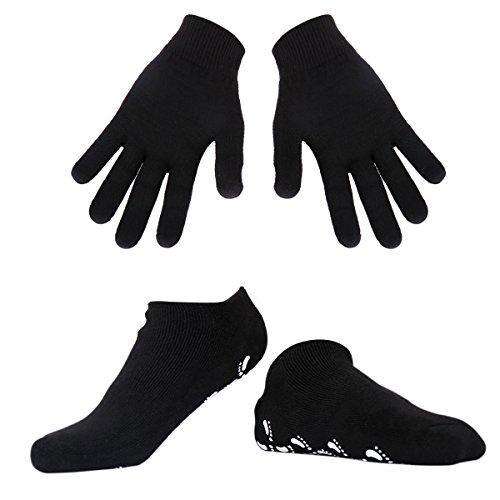 Happon Feuchtigkeitsspendende Handschuhe und Socken Soften mit Spa-Qualität Gel für feuchtigkeitsspendende Vitamin E und Öl infundiert helfende Reparatur trockene gebrochene Haut (Black)