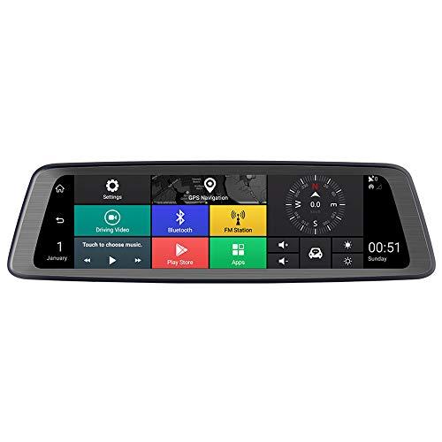 BOHENG Driving Recorder, Full-Screen Streaming 1080p Rearview Mirror, Android Navigator, Adas Voice-aktiviertes Reversing Image, USB, 170-Grad-Schießen, 10-Zoll-Full-Bildschirm Display - Recorder Motion Sensor Voice