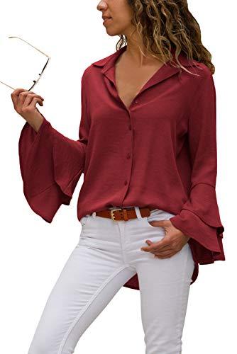 Aleumdr Damen Sommer Bluse V-Ausschnitt Oberteile mit Langarm und Knopf Glockenärmel Trompete Ballon Ärmeln Langarmshirts Blusen M