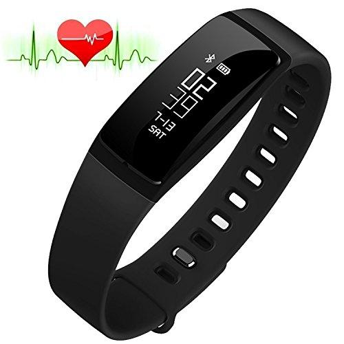 RIVERSONG®Fitness Tracker Monitor de Frecuencia Cardiaca Pulsera de Presión Arterial Reloj Sedentario Alarma de Control de Sueño SNS Pedal de Remedio de Llamada Actividad Deportiva Pulsera Saludable con Pantalla Táctil OLED Smart Watch para Android iOS Smartphones (NEGRO)