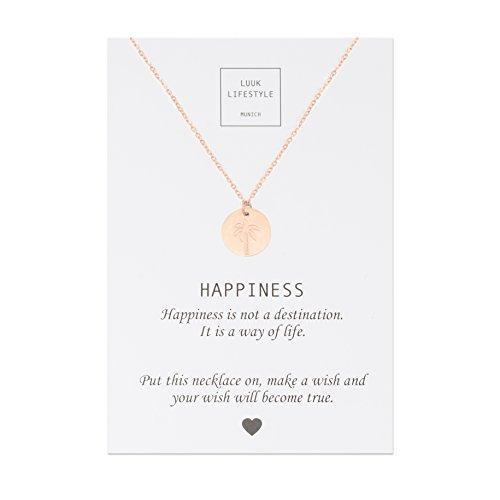 LUUK LIFESTYLE Edelstahl Halsketten mit unterschiedlichen Anhängern und Happiness Spruchkarte, Glücksbringer…