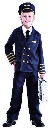 Foxxeo 10084 | Pilotenkostüm für Kinder, Größe:152/158
