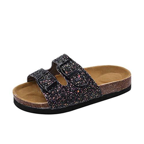 VECDY Damen Sandalen Herren Schuhe Pailletten Doppelschnalle Flache Strand Hausschuhe Mode dicken unteren Sandalen 35-44