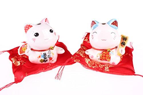 Maneki Neko Feng Shui Suerte par de porcelana, con cojín de gato–Amuleto de la suerte y hucha