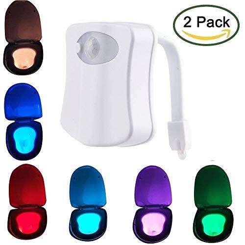 2 Stück LED Toiletten Licht, VIPMOON Toilettenlicht Mit Bewegungsmelder Batteriebetrieben, Toilettenlicht Mit 8 Verschiedenen Farbwechsel WC-Schüssel Licht Für Badezimmer