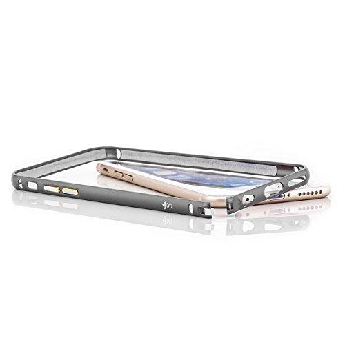Saxonia Custodia + 2x Vetro Temperato Apple iPhone 7 Ultra Slim Custodia di alluminio Case Cover Slim Bumper Telaio del Respingente Antiurto | Alta Qualità di Protezione Sottile e Elegante Design Jet  Grigio