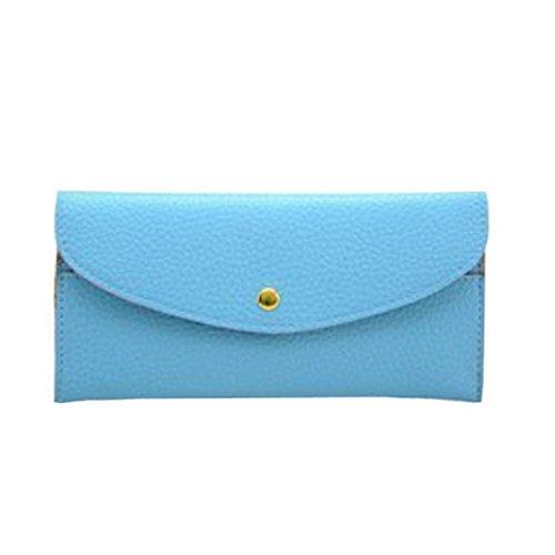 Portafoglio Donna, Tpulling Portafoglio lungo della borsa della borsa della frizione della borsa sottile della signora Donne (pink) Light blue