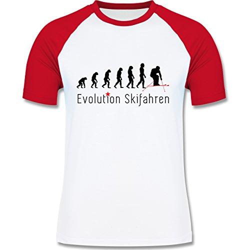 Evolution - Skifahren Evolution - zweifarbiges Baseballshirt für Männer Weiß/Rot