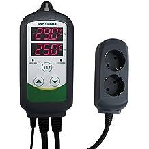 Inkbird ITC-308 Plug-n-Play Doble Rele 220v Termostato Digital con Sonda, Refrigeración y Calefaccion Controlador de Temperatura para Calentador Acuario y Peceras, Bomba de Agua, Incubadoras Reptil, Kit Cerveza