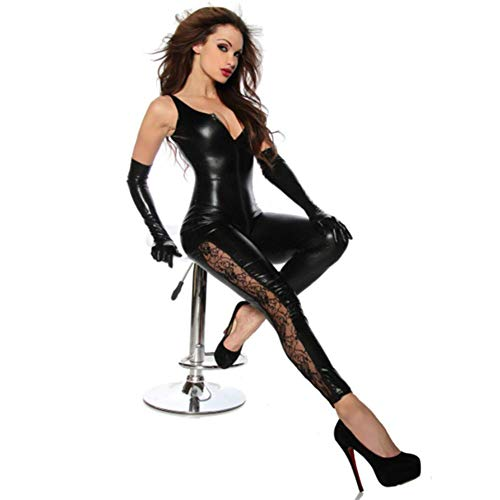 ZQJAN Sexy Damen Doppelter Offener Reißverschluss Geöffneter Schritt Catsuit Spitze Patent Leder Overall Kostüme,Black,OneSize