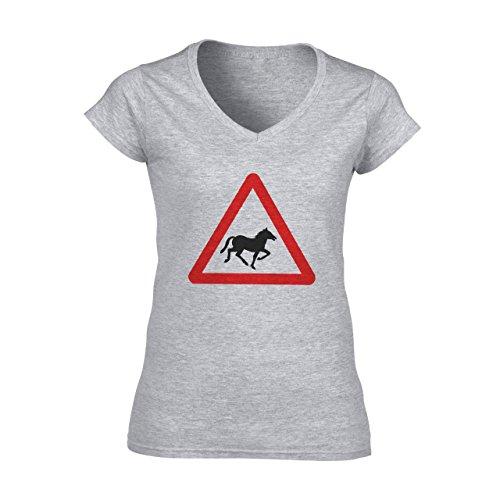Horse Animal Pony Stud Sign Red Triangle Damen V-Neck T-Shirt Grau