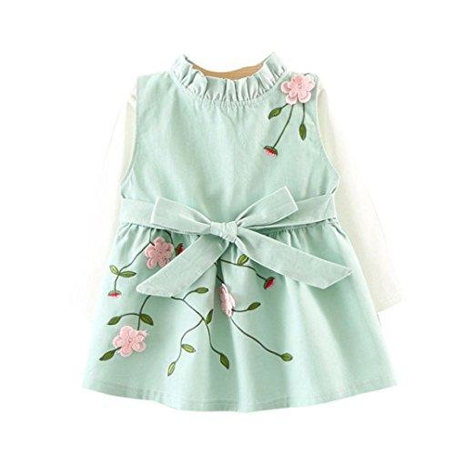 OVERDOSE Kleinkind Baby Kind Mädchen Langarm Gestrickte Bogen Neugeborenen Tutu Prinzessin Kleid 0-24 Monate (6-12 Monate, B-A-Green)