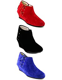 TEQTO Women's Black, Red And Blue Pack Of 3 Ankle Boots {Combo-22}