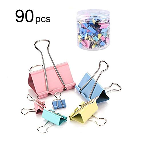 Faviye 90pcs Metall Binder Clips Bunte Binder Clips für Home School Office Supplies
