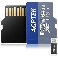 AGPTEK Carte Mémoire de 64Go avec Lecteur de Cartes, Carte Micro SD/TF Compatible avec Téléphone Intelligent, GPS, Tablettes PC, Appareils Photo Numériques et Tout MP3 Noir et Bleu
