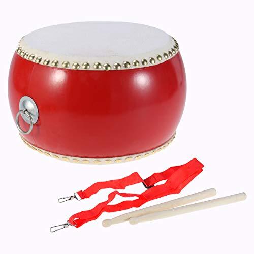 STOBOK Kinder Drum Spielzeug Trommel Musikinstrument mit Trageriemen Trommelstöcken 29cm (Rot)