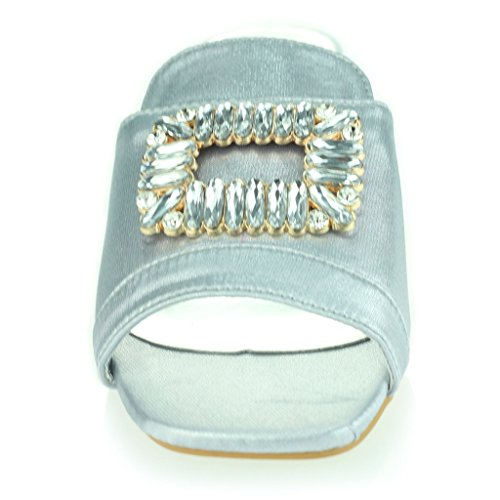 Femmes Dames Broche Détail Diamante Enfiler Talon De Bloc Soir Casual Fête Des Sandales Chaussures Taille Argent