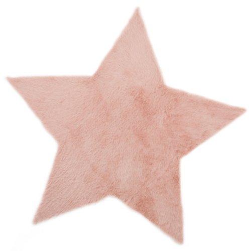 Pilepoil  - Alfombra infantil, diseño de estrella, color rosa 140 x 140 cm - piel artificial - Fabricado en Francia
