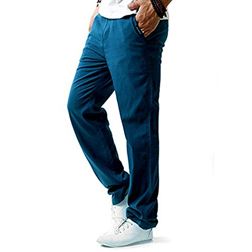 Juleya Herren Strandhosen Bequem Atmungsaktiv Sommerhosen Loose Leicht  Leinenhosen Männer Lange Hosen Einfarbig Lässige Freizeithose Mit  Seitentaschen 0769eca80a
