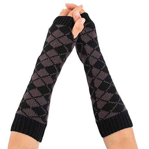TEBAISE Handschuhe Damen für Frauen Armstulpen für Halber Finger Warme Handschuhe für Frauen Armwärmer für Handy (Indianer Kostüm Verleih)