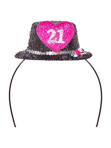 Kopfbügel Tiara Minihütchen Zahl 21 Schwarz Pink
