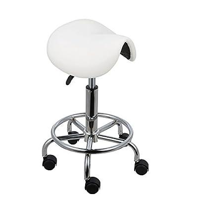 Voilamart Saddle Salon Massage Chair Adjustable Swivel Hydraulic Gas Lift Ergonomic Stool for Hairdressing Manicure Tattoo Therapy Beauty Massage Spa Salon, White - low-cost UK light shop.