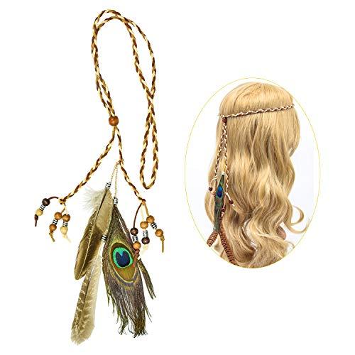 cococity Bohemian Stirnband Feder Haarband Quaste Geflochten Indianer Kopfschmuck Leder Seil für Frauen Festival Halloween Karneval Boho Haar Zubehör - Indische Mittelalter Kostüm