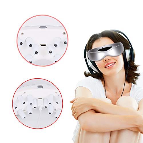 WUHX Massagegerät für Augen, USB-wiederaufladbarer Elektromagnet-Vibrationsmassage und 9 Modi Augenpflege Relax Vision Eyestrain Stress Relief Insomnia Dry Eye,Silver -
