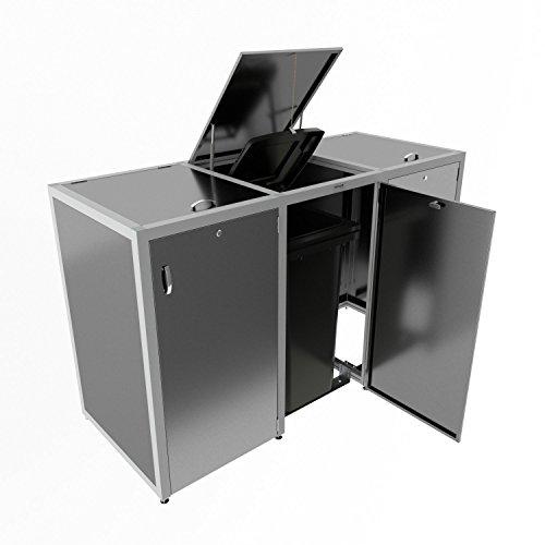 3er Mülltonnenbox aus Edelstahl V2A rostfrei Müllbox Abfalltonnen Aufbewahrung Dreier Box für drei Mülltonnen Restmüll Bio-Müll Papiermüll