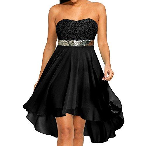 Zolimx Damen Ärmelloses Nähte Kleid, Frauen Party volles Kleid aus Schulter Empire Taille Chiffon Bandeau Unregelmäßiges Kleid -