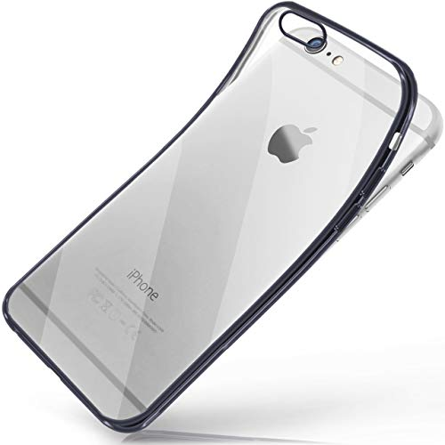moex iPhone 6S | Hülle Silikon Transparent Anthrazit Chrom Back-Cover Silikonhülle Dünn Schutzhülle Handyhülle für iPhone 6/6S Case Ultra-Slim Tasche TPU