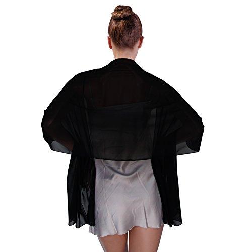 FIODAY Damenschal Chiffon Stola Schal fuer Kleider Abendkleid 200cmx75cm, Schwarz