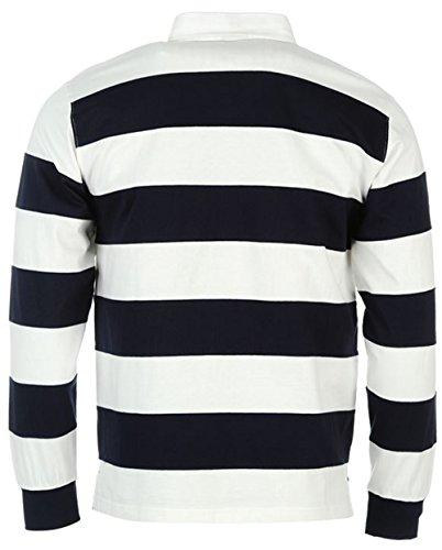 Herren-Shirt, gestreift, Rugby. lange Ärmel, Polo-Shirt Mehrfarbig - White Navy