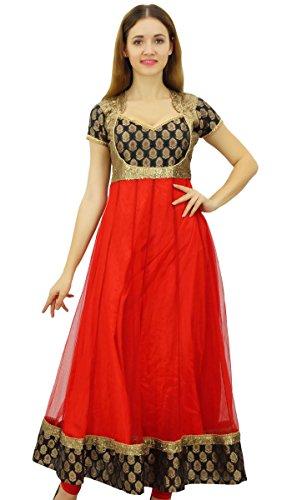 Bimba Designer,Party tragen lange Anarkali Kurta Kurti Bollywood Kleid Pailletten Yoke Ethnic Chic Kleidung Red,38 (Kleid Kurta)