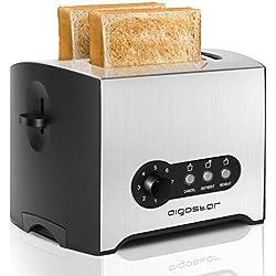Aigostar Mini Sunshine 30MPX - Grille-pain en acier inoxydable, 900W, avec 2 fentes extra-larges et fonctions réchauffage et décongélation. 7 niveaux de brunissage, 0% BPA.