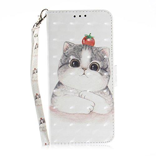 HUDDU Compatible for Xiaomi Mi A2 / Mi 6X Hülle Leder Flip Wallet Cover Lanyard Handyhülle Tasche Leder Klapphülle Schutzhülle Kartensteckplätze Stand Feature Magnetic Snap - Nette Katze -
